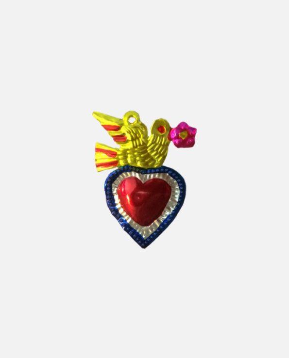 coeur ex-voto colombe au rameau - modèle 4