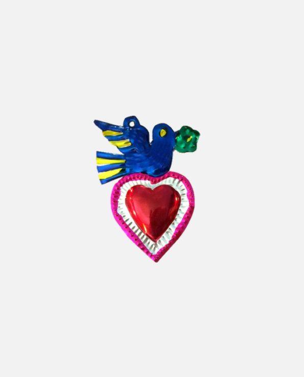 coeur ex-voto colombe au rameau - modèle 2