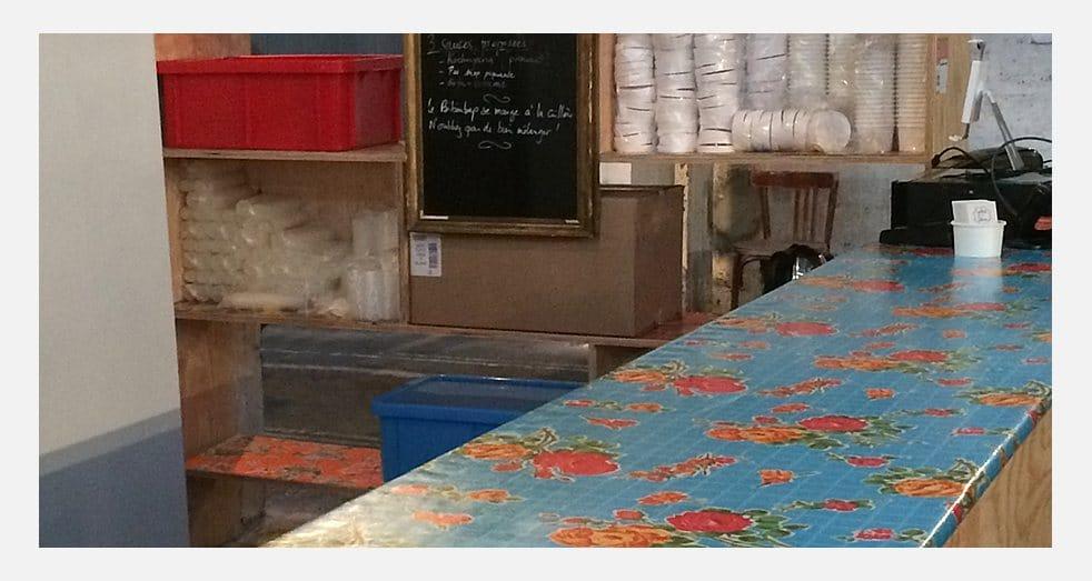 Toiles cirées mexicaines - banquettes du Grand Train à Paris - Modèle Rosedal bleu