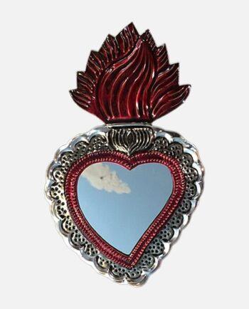 Grand miroir ex-voto Sacré Coeur mexicain