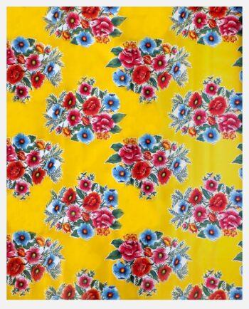 Toile cirée mexicaine bouquet fleuri jaune
