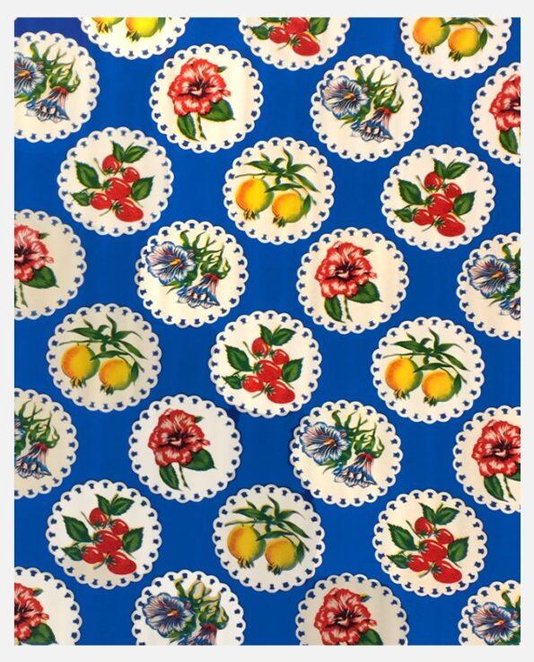 Toile cirée mexicaine Fleurs de Grenades fond bleu
