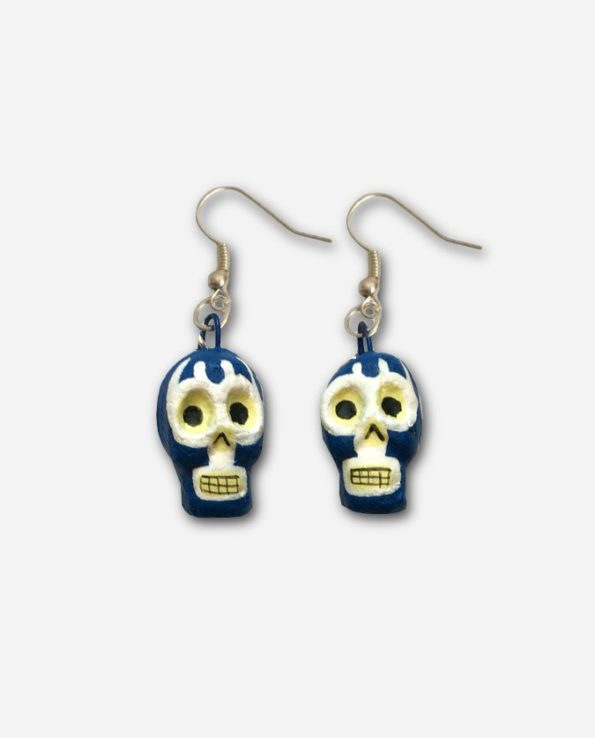 boucles d'oreilles mexicaine calacas blue demon