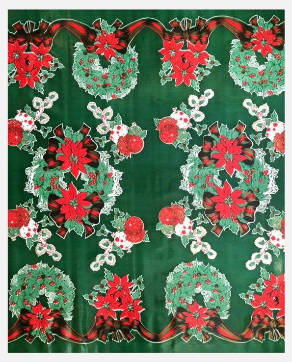 Toile cirée Couronne de Noël fond Vert