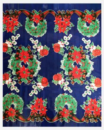 Toile cirée Couronne de Noël fond Bleu