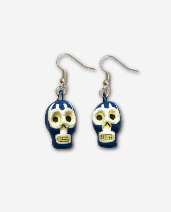 boucles d'oreilles mexicaine calacas blue demon
