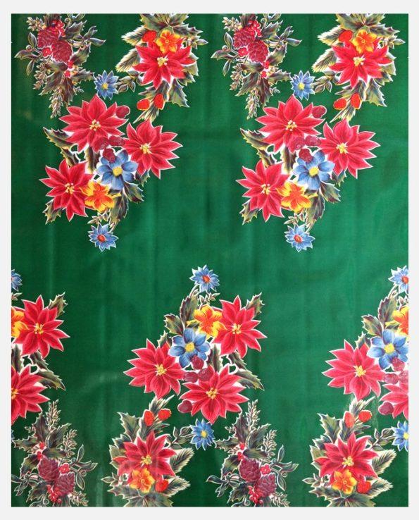 Toile cirée mexicaine Fleurs de Noël fond vert