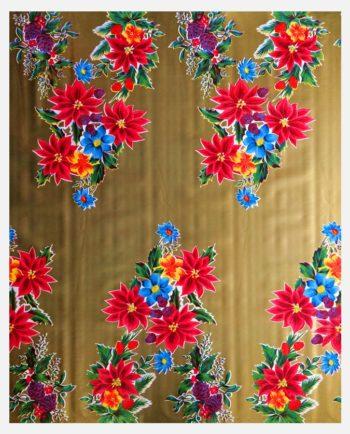 Toile cirée mexicaine Fleurs de Noël fond Or