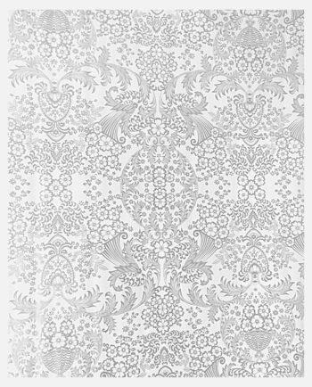 Toile cirée mexicaine Eden dessin grisn argent