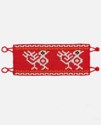 Bracelet perles de rocaille oiseaux ethniques fond rouge