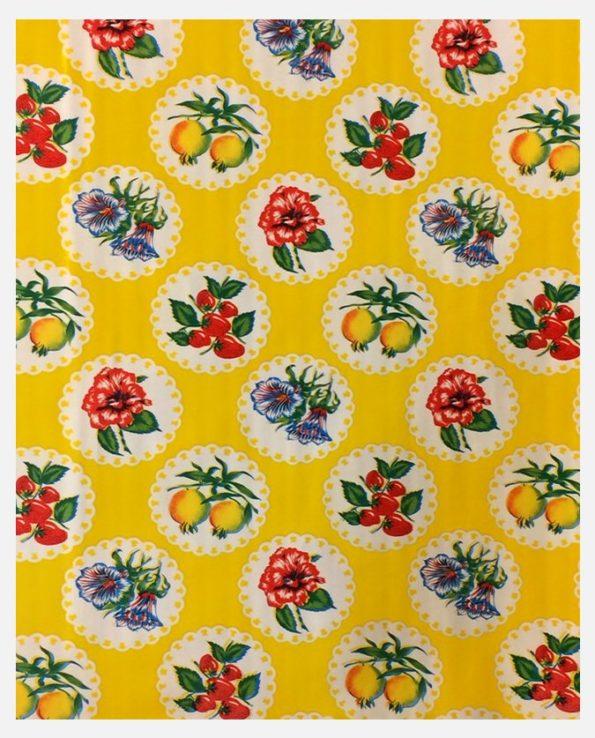 Toile cirée mexicaine Fleurs de Grenades fond jaune