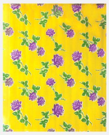 Toile cirée mexicaine roses fond jaune