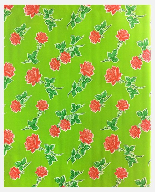 Toile cirée mexicaine roses fond vert
