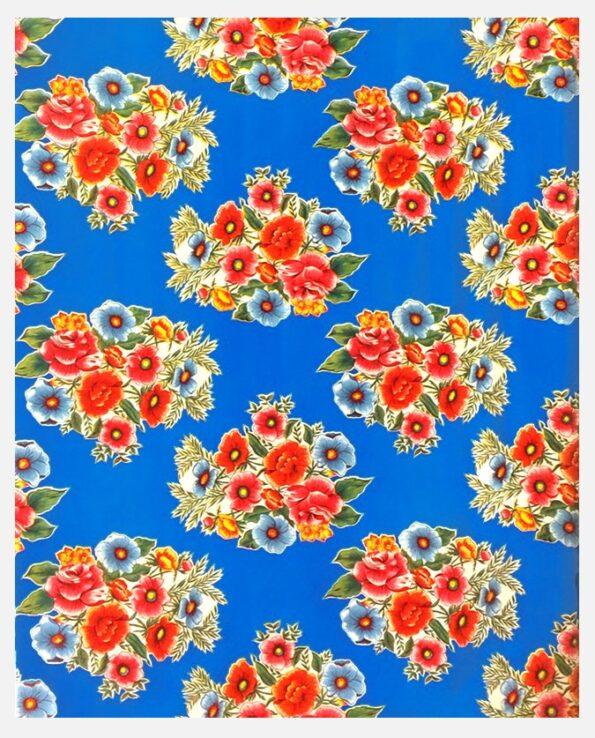 Toile cirée mexicaine bouquet fleuri bleu