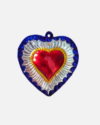 Coeur ex-voto mexicain rond bord bleu