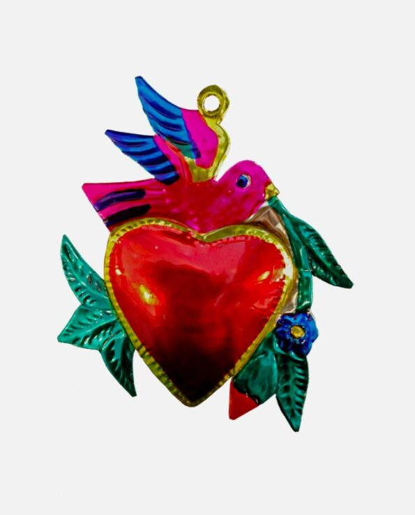Coeur ex-voto mexicain colombe rameau