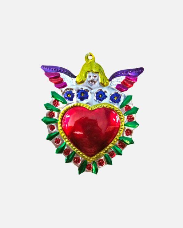 Coeur ex-voto mexicain Ange