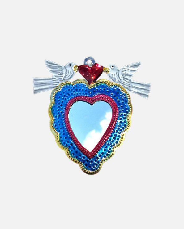Miroir mexicain colombes coeur ex-voto cadre bleu-or