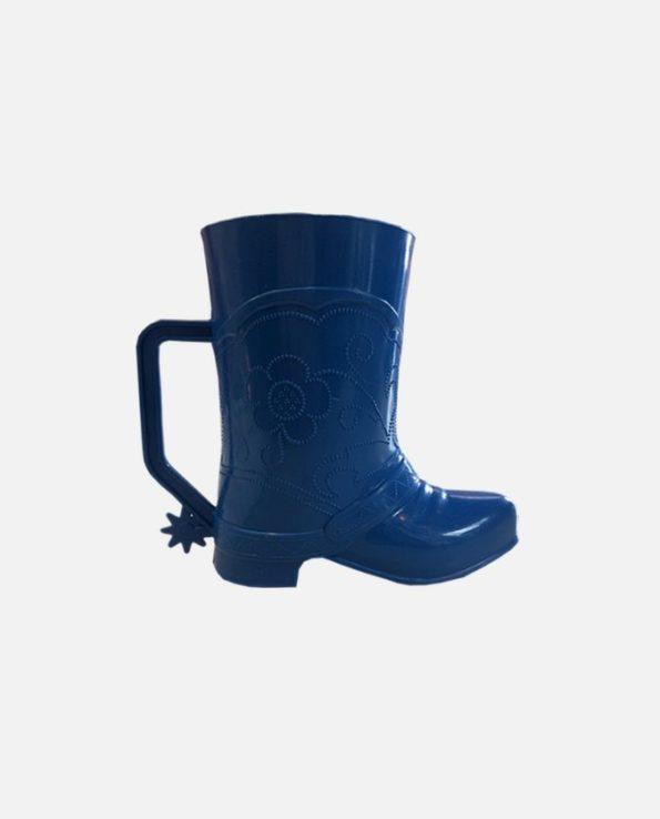Gobelet plastique botte Santiag, bleu