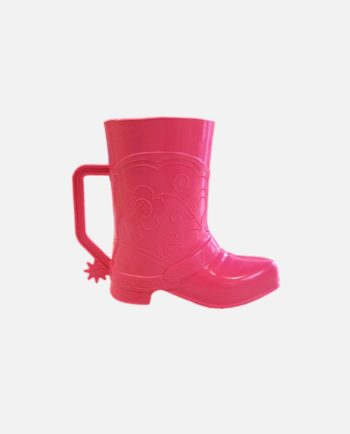 Gobelet plastique botte Santiag, rose