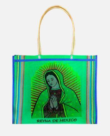 Sac cabas sérigraphié Virgen de Guadalupe, vert