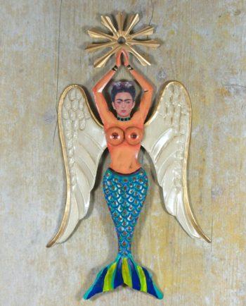 Décoration murale sirène Frida bleue