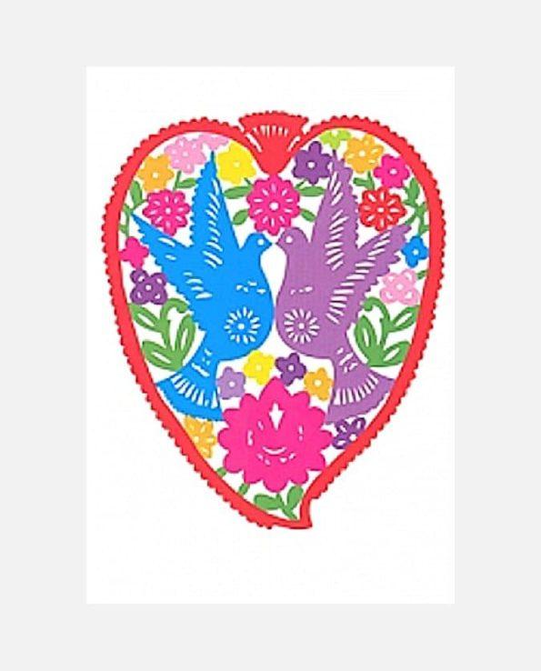 Carte de voeux coeur et colombes papel picado mexicain