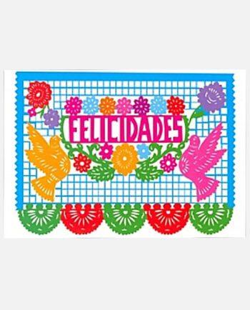 Carte de voeux Felicidades papel picado mexicain