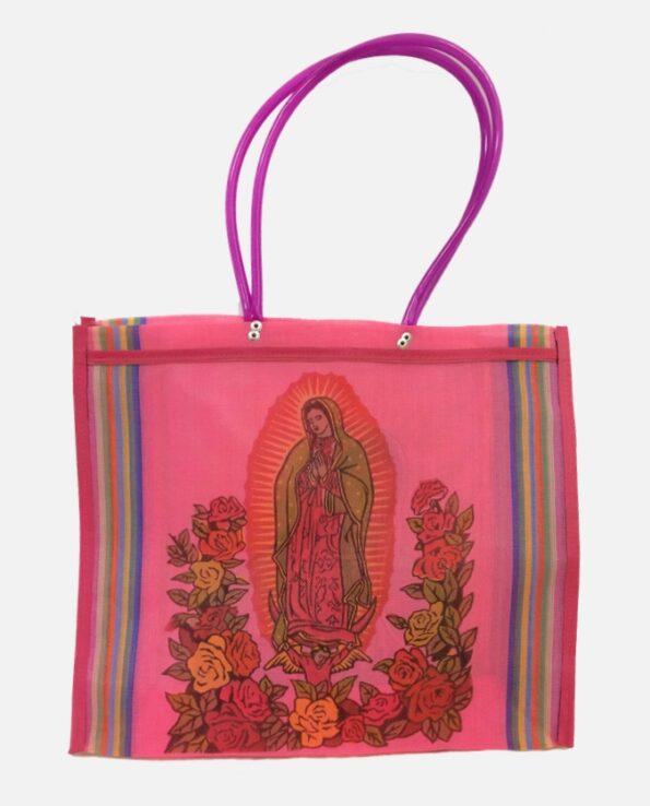 Sac cabas sérigraphié Virgen de Guadalupe, rose