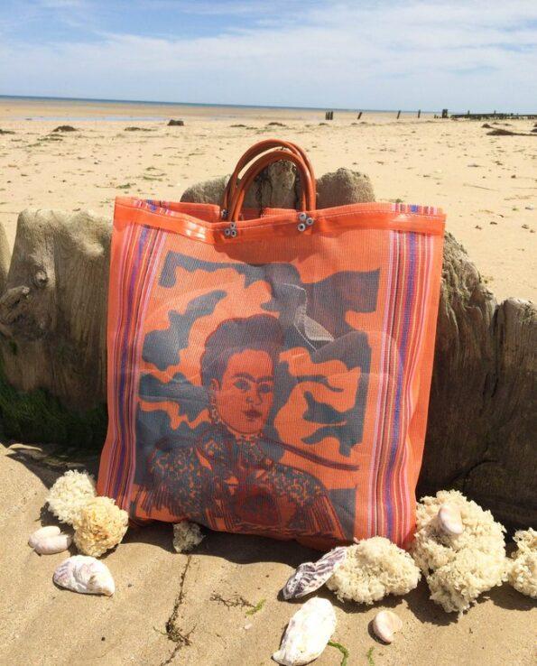 Sac Frida Kahlo anse courte orange