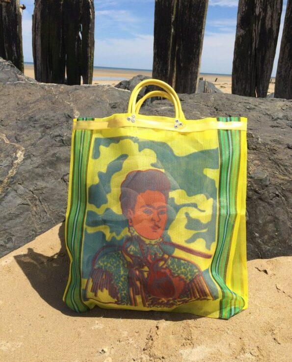 Sac Frida Kahlo anse courte jaune