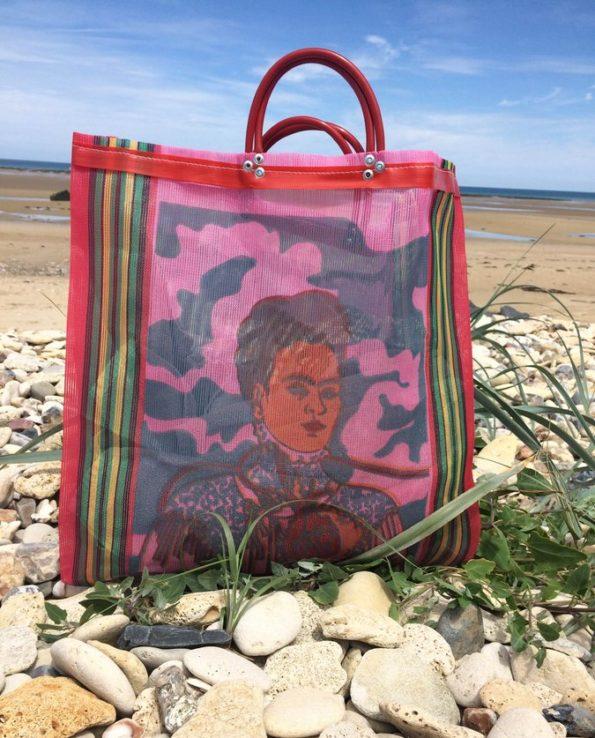 Sac Frida Kahlo anse courte framboise