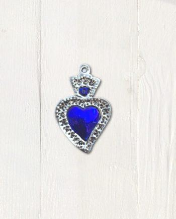 coeur ex-voto bleu argent