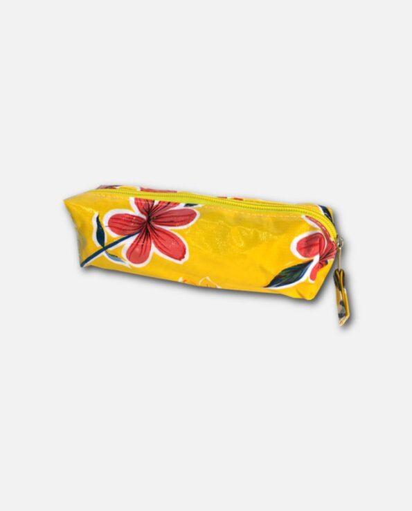 Trousse stylo toile cirée mexicaine jaune