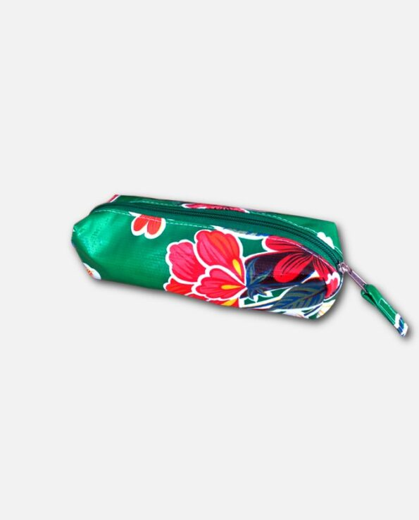 Trousse stylo toile cirée mexicaine vert