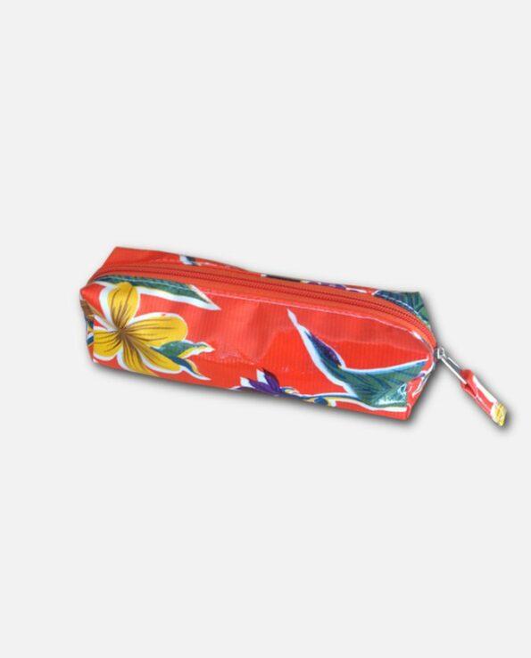 Trousse stylo toile cirée mexicaine orange