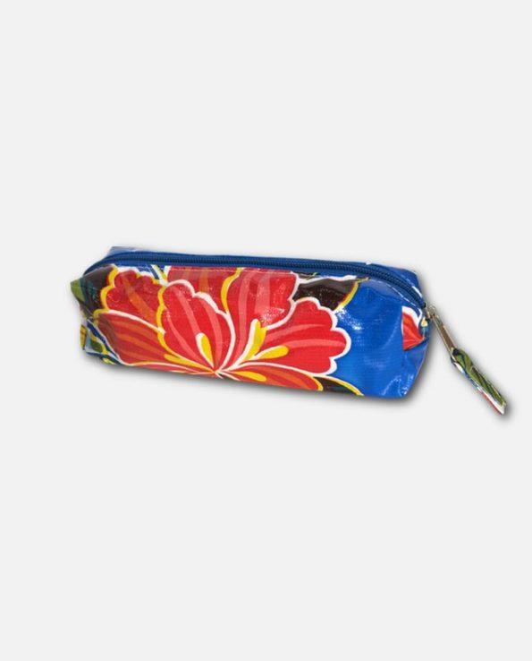 Trousse stylo toile cirée mexicaine bleu