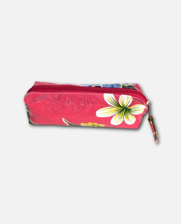 Trousse stylo toile cirée mexicaine rose
