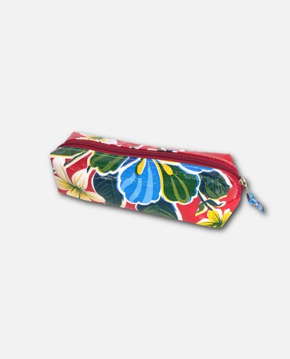 Trousse stylo toile cirée mexicaine rouge