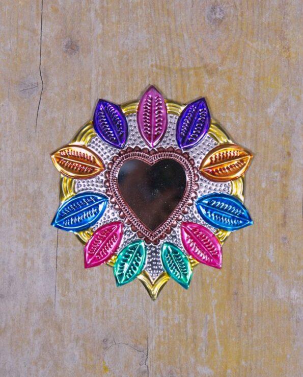 Coeur sacré mexicain miroir Couronne de feuilles