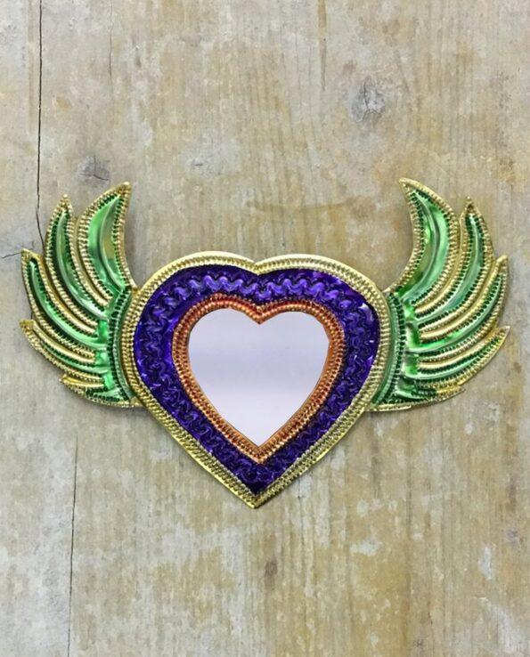 Coeur sacré mexicain miroir Grandes ailes