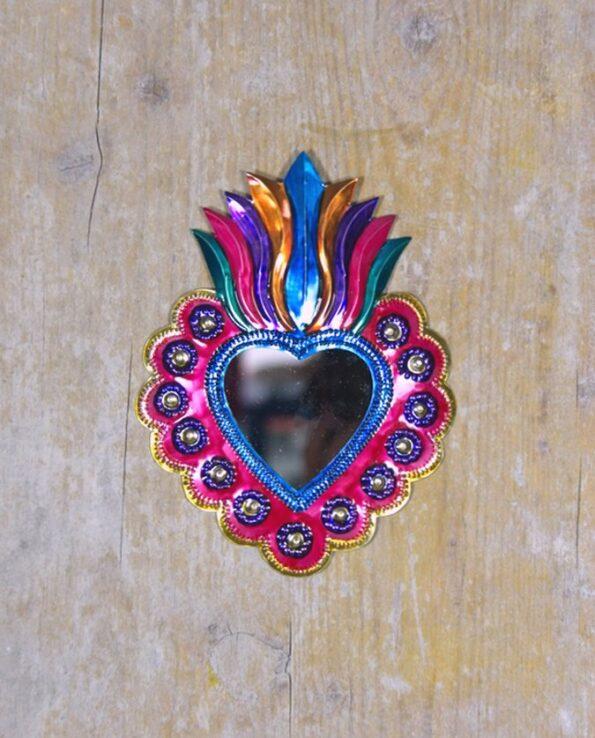 Coeur sacré mexicain miroir chemin de fleurs