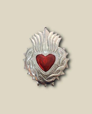 Coeur ex-voto épines et flammes