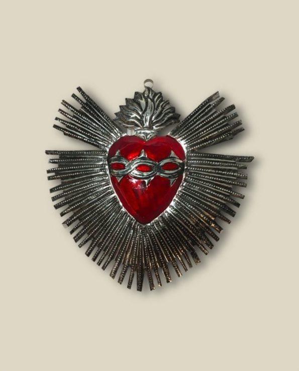 Coeur ex-voto à rayons métal patiné - rouge