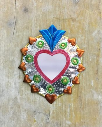 Coeur sacré mexicain miroir Collier de coeurs