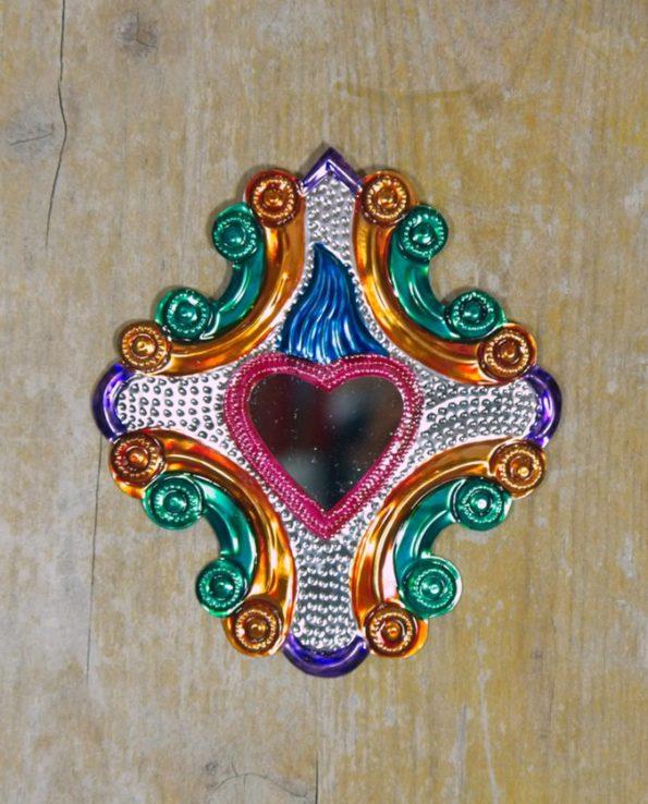 Coeur sacré mexicain miroir Croix baroque