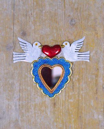 Coeur sacré mexicain miroir les 2 colombes