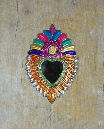 Coeur sacré mexicain miroir fleur et panache