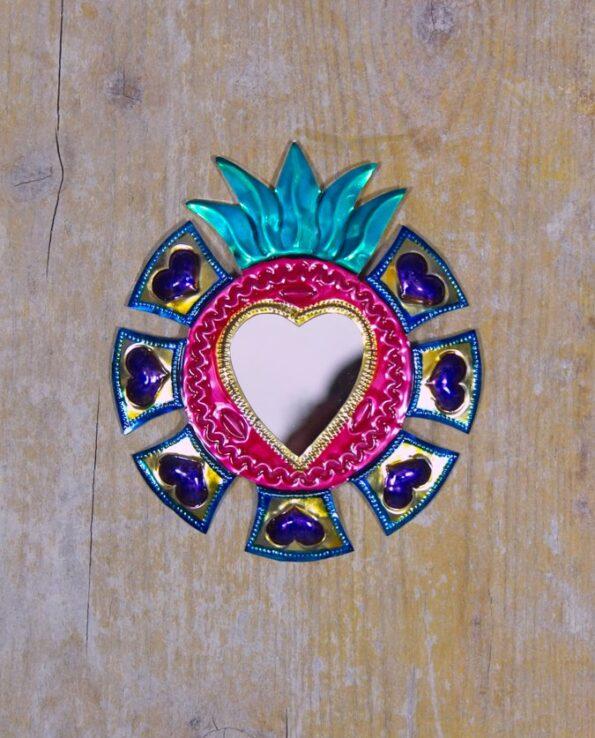 Coeur sacré mexicain miroir Couronne de coeurs