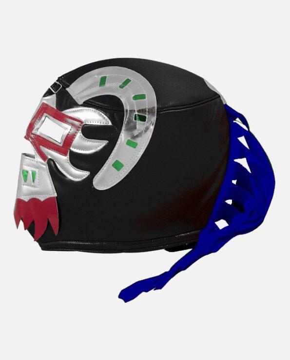 Masque mexicain catcheur Ephesto noir argent profil